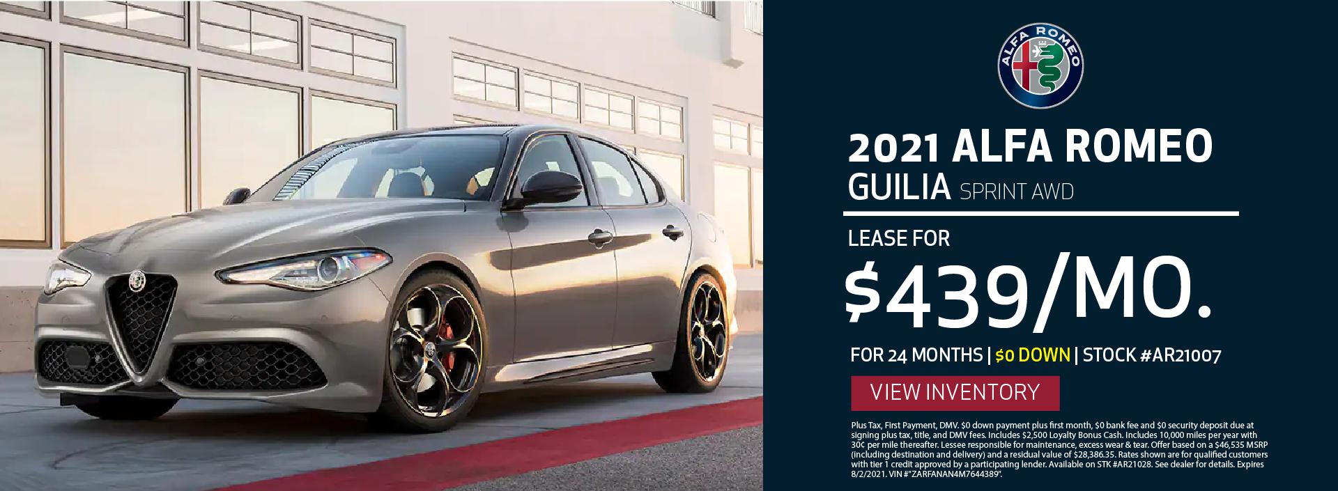 Manhattan Alfa Romeo – 2021 Guilia Sprint – July 2021