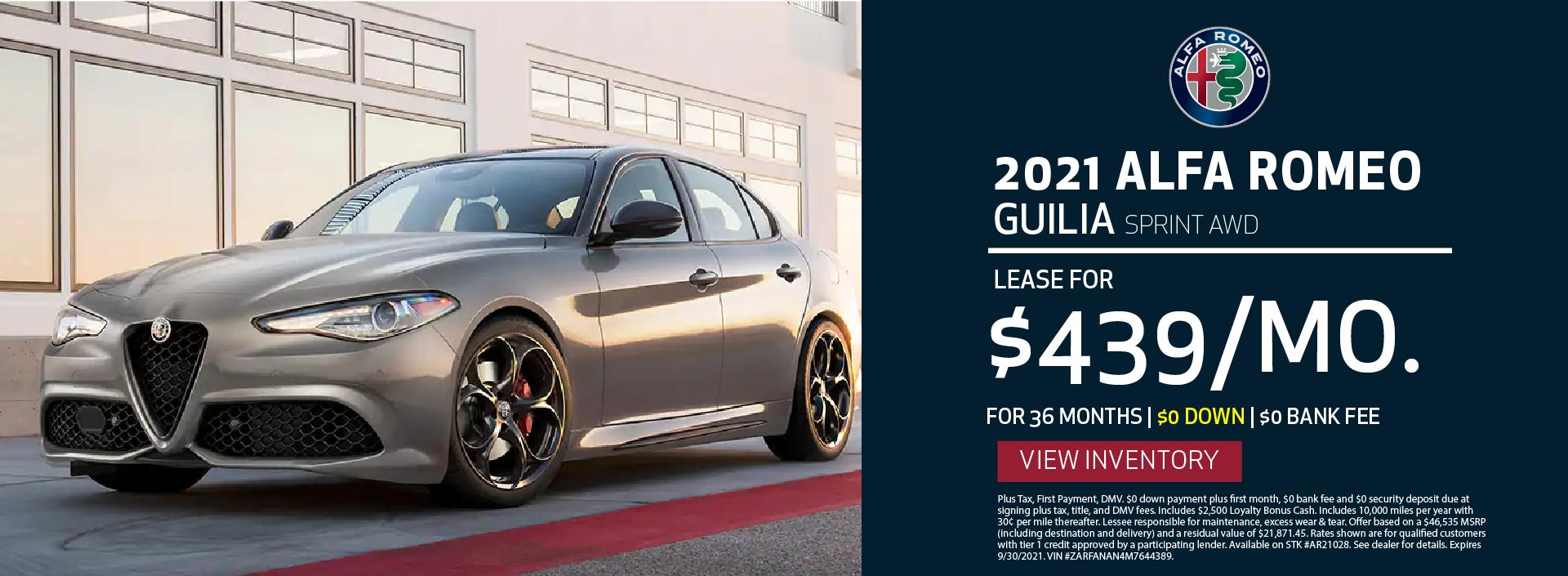 Manhattan Alfa Romeo – 2021 Guilia Sprint – September 2021