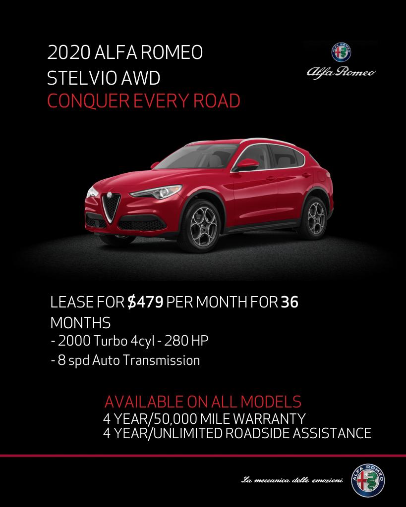 Lease 2020 Alfa Romeo Stelvio Awd Stelvio For $469/month, $4,764 Due At Signing