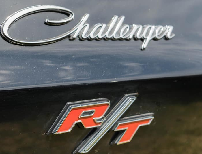 Dodge Challenger RT emblem on display