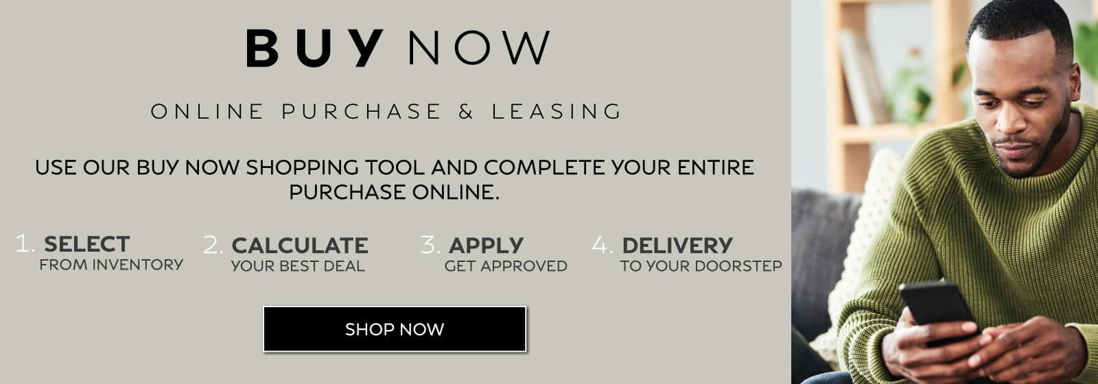 Buy Now - purchase a vehicle online in 4 simple steps