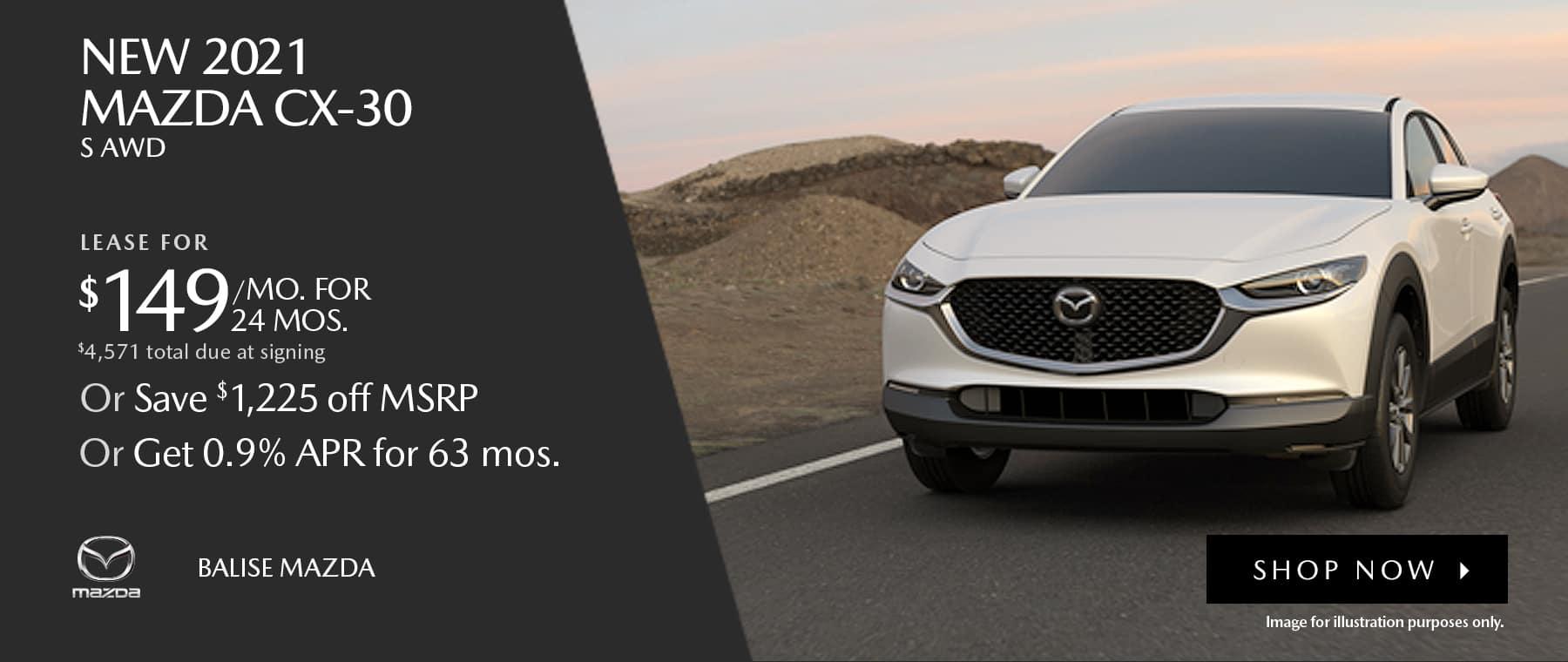 BMAZ-HomePageBanner-1800×760- New 2021 _Mazda CX-30 S AWD_04'21
