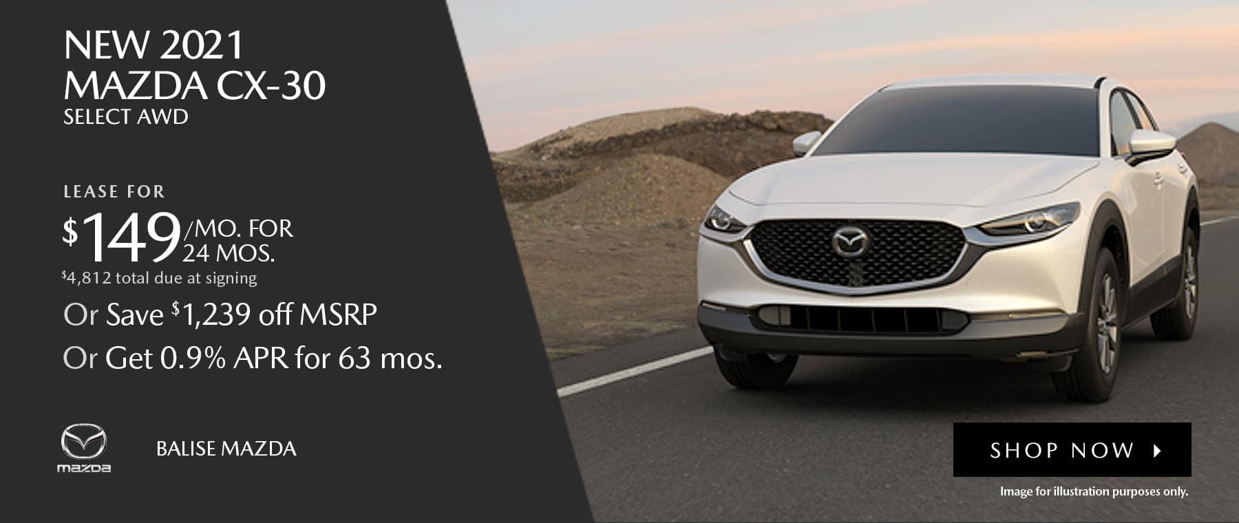 BMAZ-HomePageBanner-1800×760- New 2021 _Mazda CX-30 S AWD_05'21