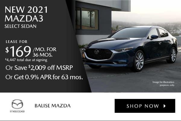 New 2020 Mazda3 Sedan Select Pkg AWD