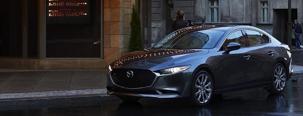 2019 Mazda3 sedan in silver on city streets