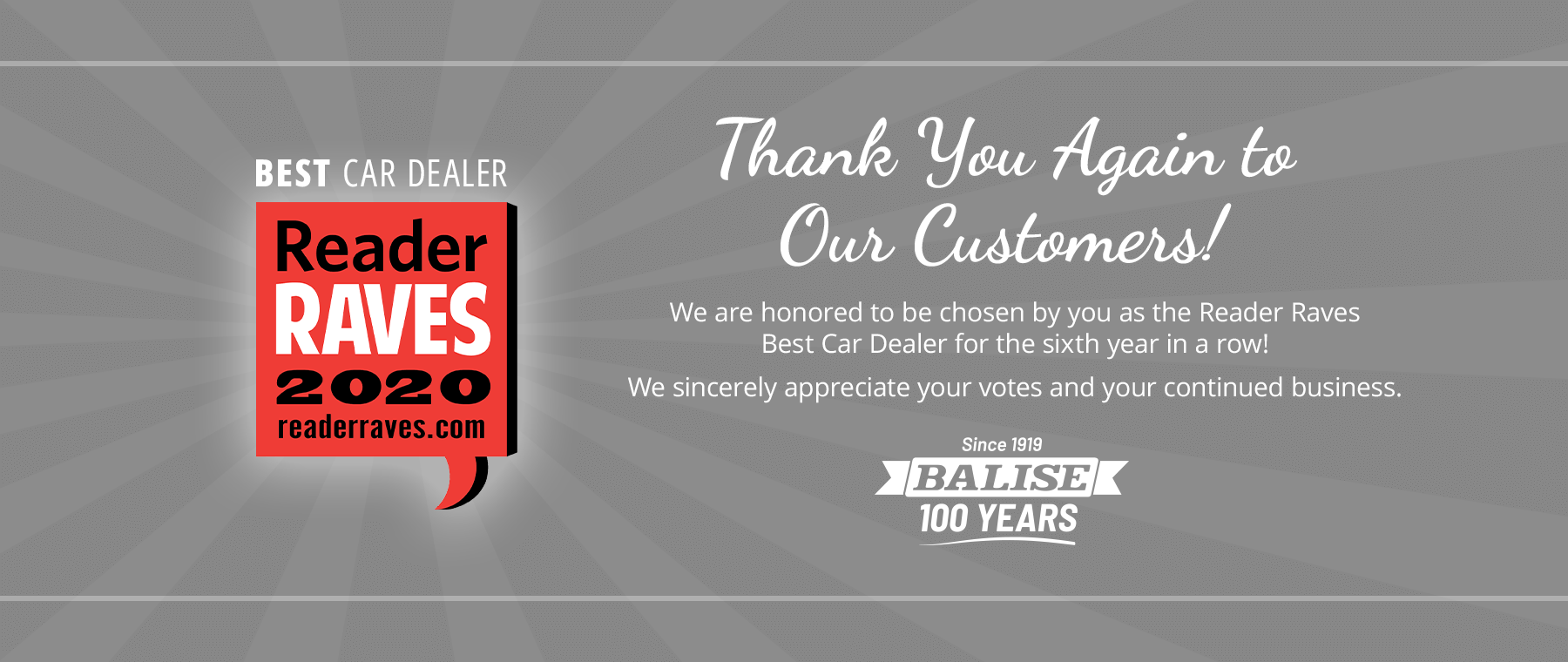 Best Car Dealer 2020 - Thank you to our customers