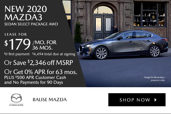 New 2020 Mazda3 Sedan Select Pkg AWD