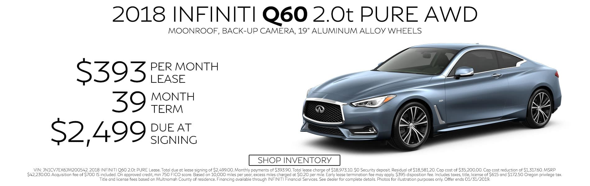 Lease a 2018 Q60 2.0t PURE AWD for $393 per month with $2,499 due at signing
