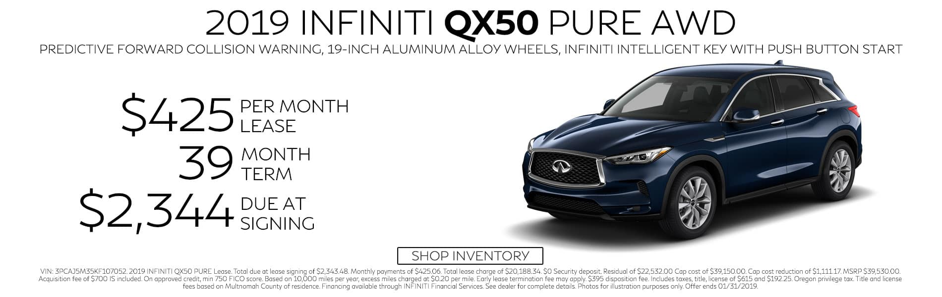 Lease a 2019 QX50 PURE AWD for $429 per month with $2,344 due at signing