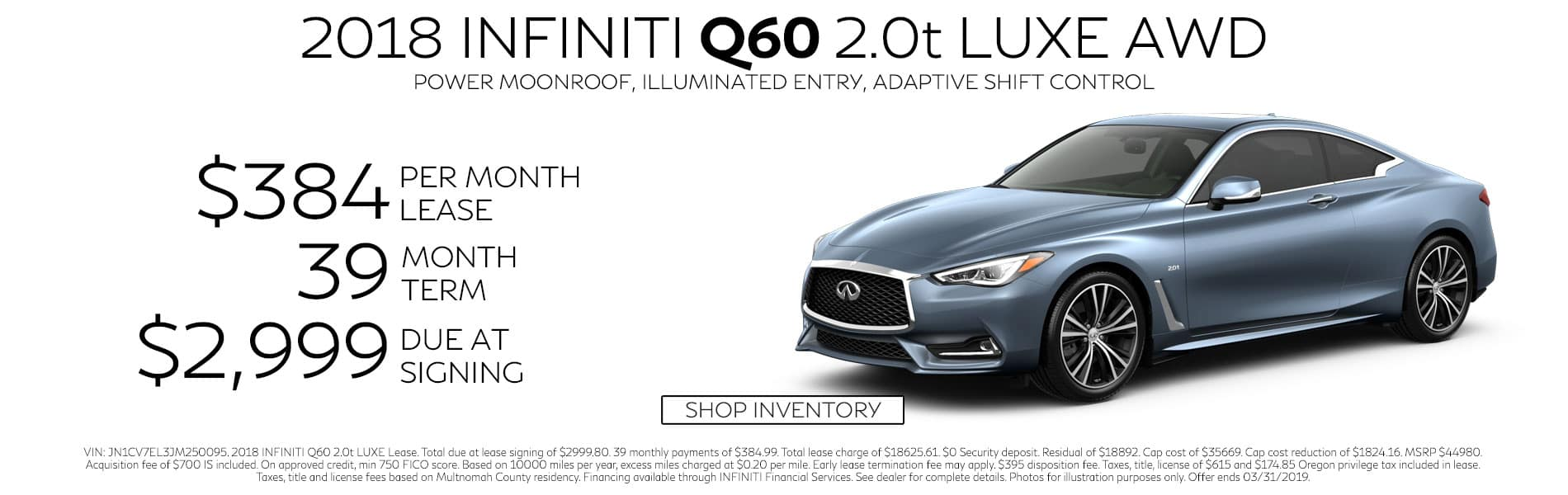 Lease a 2018 Q60 2.0t LUXE AWD for $384 per month with $2,999 due at signing