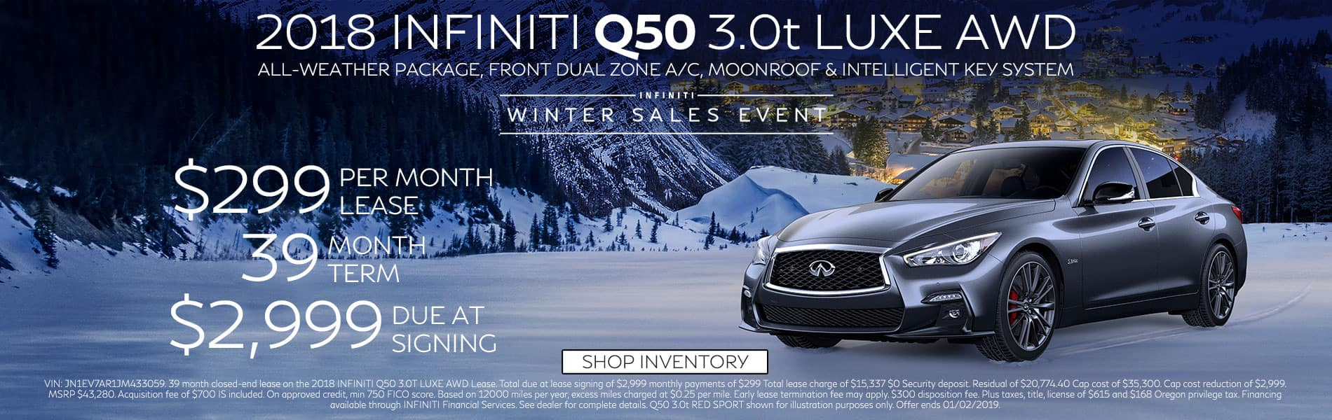 Lease a 2018 Q50 3.0t LUXE AWD for $299 per month with $2,999 due at signing