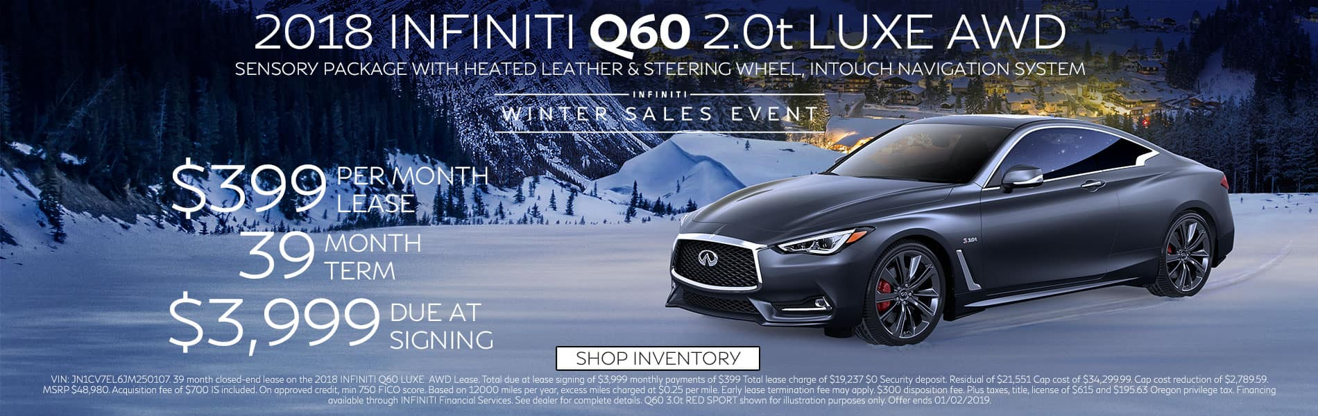 Lease a 2018 Q60 2.0t LUXE AWD for $399 per month with $3,999 due at signing
