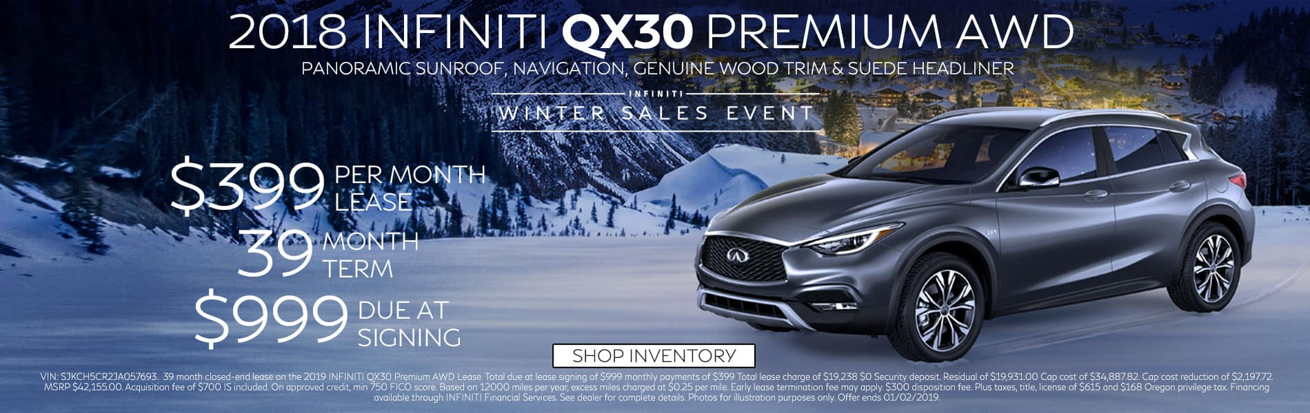Lease a 2018 QX30 PREMIUM AWD for $399 per month with $999 due at signing