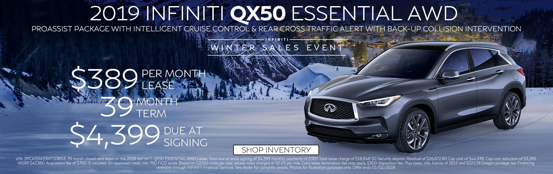 Lease a 2019 QX50 ESSENTIAL AWD for $389 per month with $4,399 due at signing