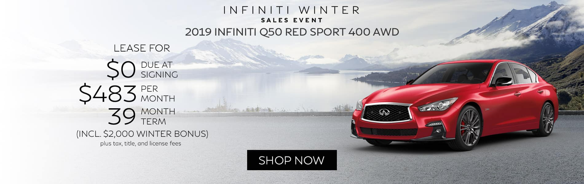 Lease a new 2019 INFINITI Q50 RED SPORT 400 AWD for $483 per month with just $0 due at signing.