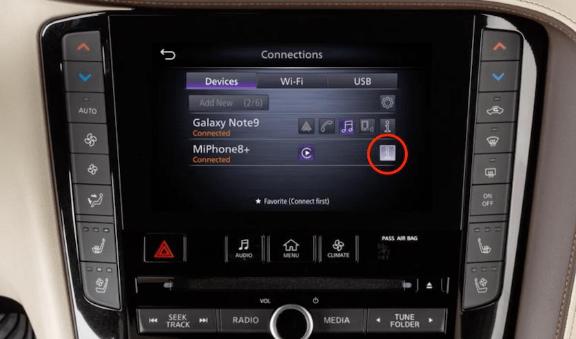 Start Apple CarPlay INFINITI QX50