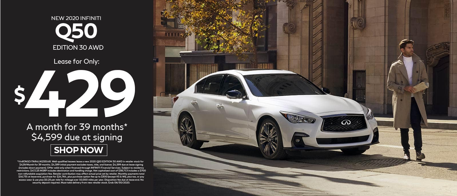 2020 INFINITI Q50 Edition 30 AWD $429 a month for 39 months $4599 due at signing. Shop now.