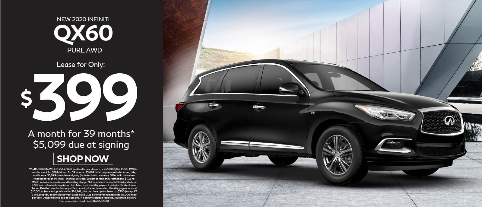 2020 INFINITI QX60 Pure AWD Lease for $399 a month for 39 months $5099 due at signing. Shop Now.