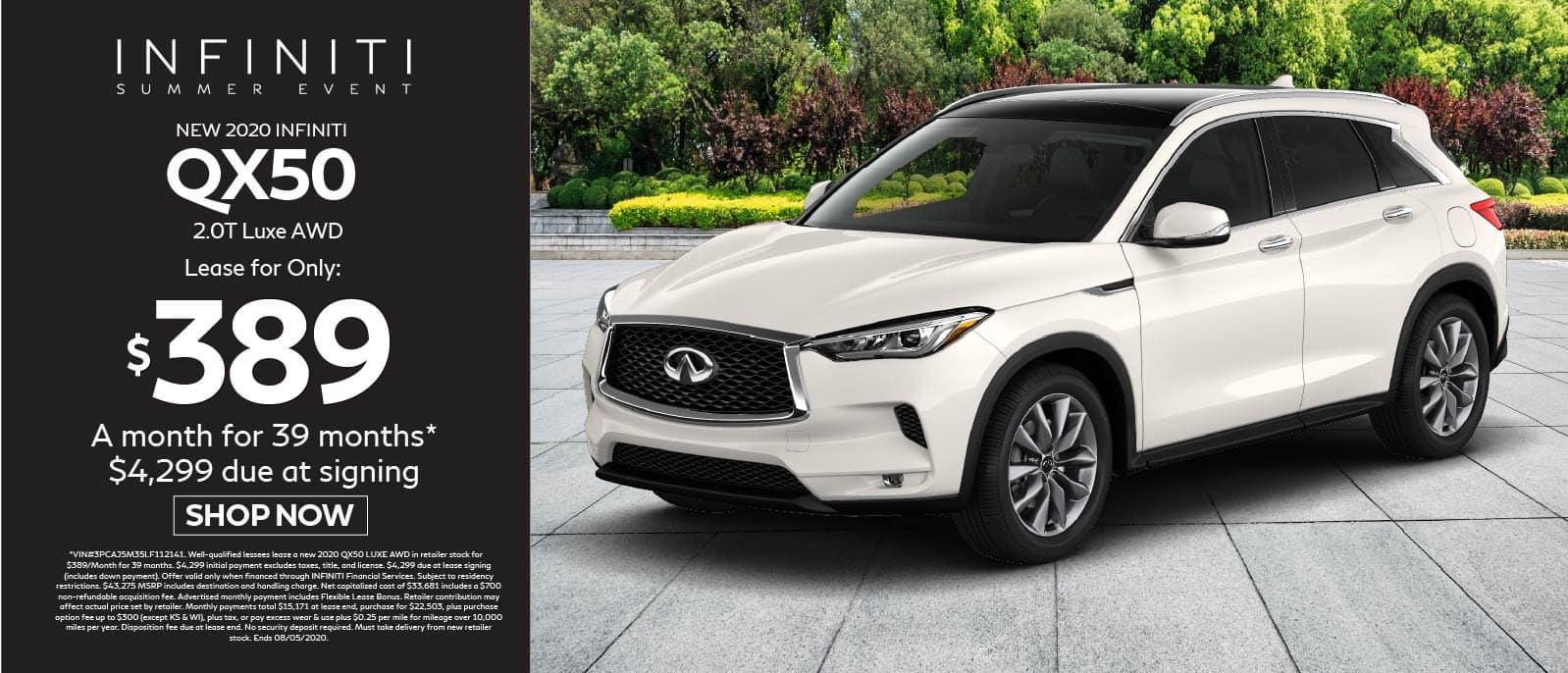 2020 INFINITI QX50 2.0T Luxe AWD Lease for $389 for 39 months $4299 due at signing. Shop now.