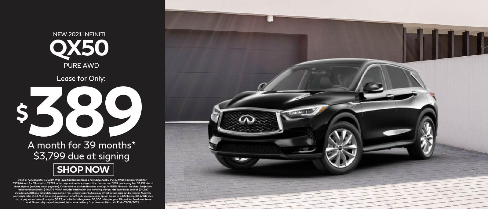 New 2021 INFINITI QX50 Pure AWD Lease for $389 a month for 39 months, $3,799 due at signing