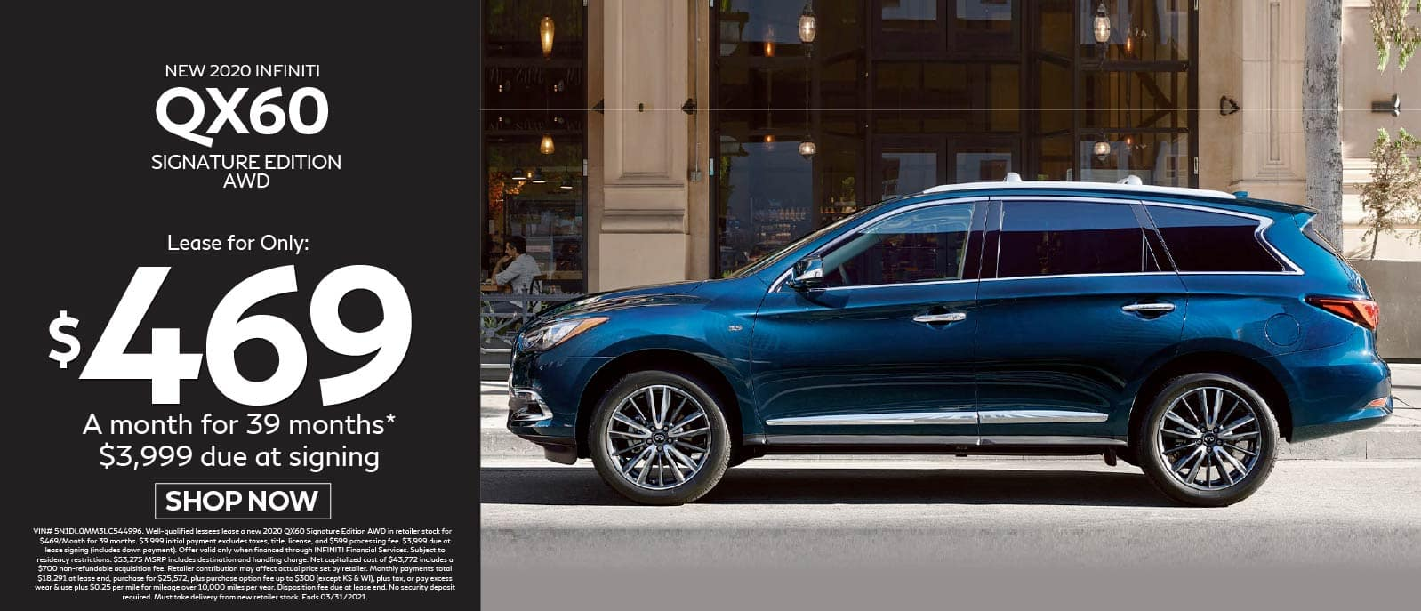 New 2020 INFINITI QX60 Signature Edition AWD Lease for $469 a month for 39 months, $3,999 due at signing