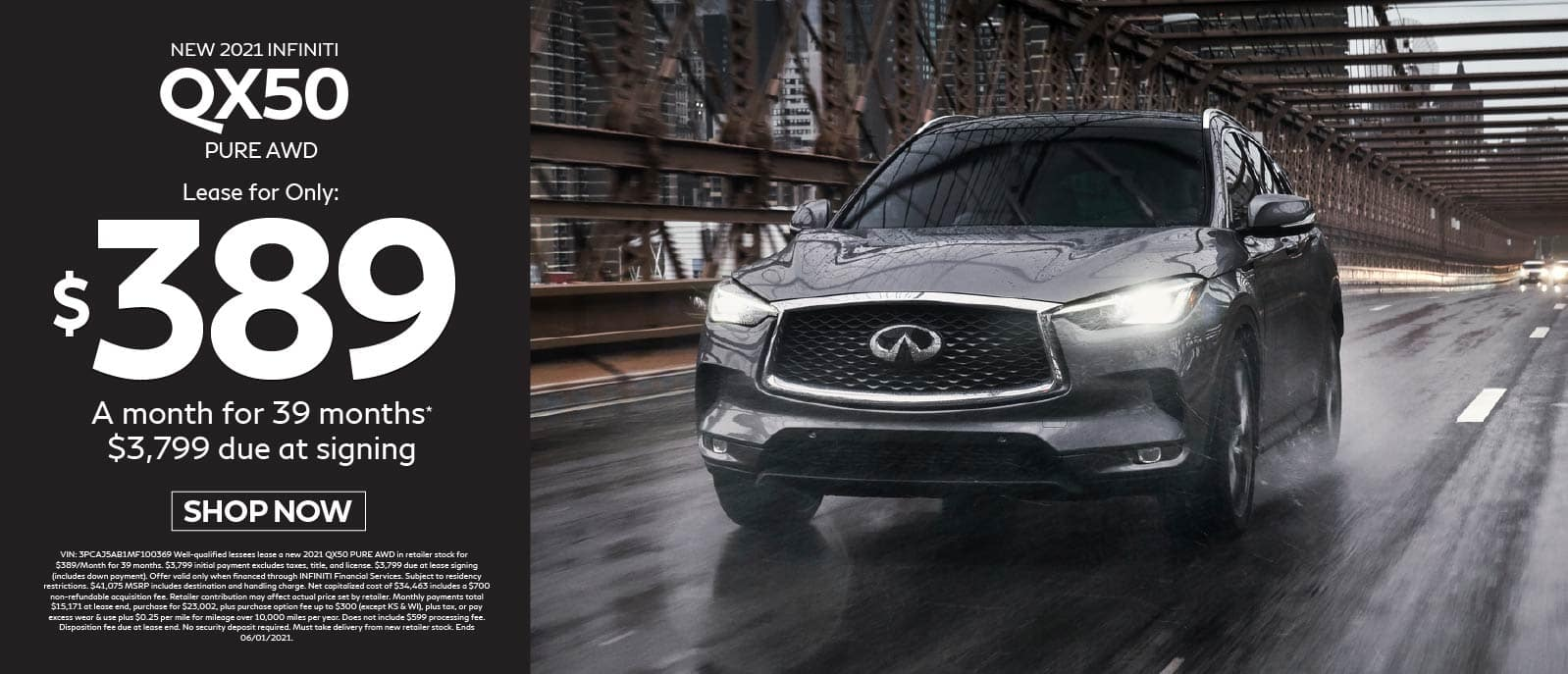 2021 QX50 Luxe AWD lease for only $389 Per month for 39 months $3,799 due at signing. Shop now.