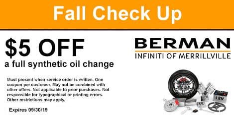Fall Check-Up: $5 off a full synthetic oil change