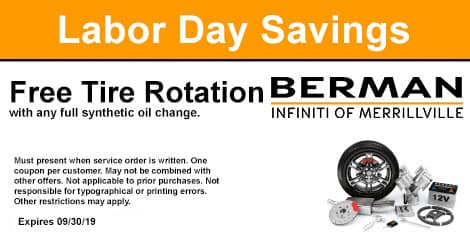 Labor Day Savings: Free tire rotation with any full synthetic oil change.