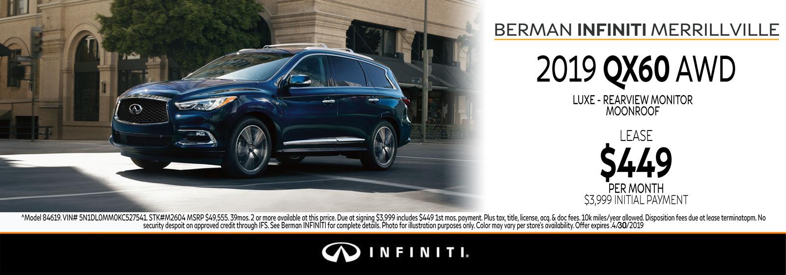 New 2019 INFINITI QX60 April Offer at Berman INFINITI of Merrillville!