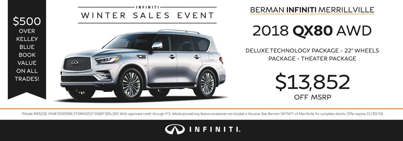 New 2018 INFINITI QX80 November Offer at Berman INFINITI of Merrillville!