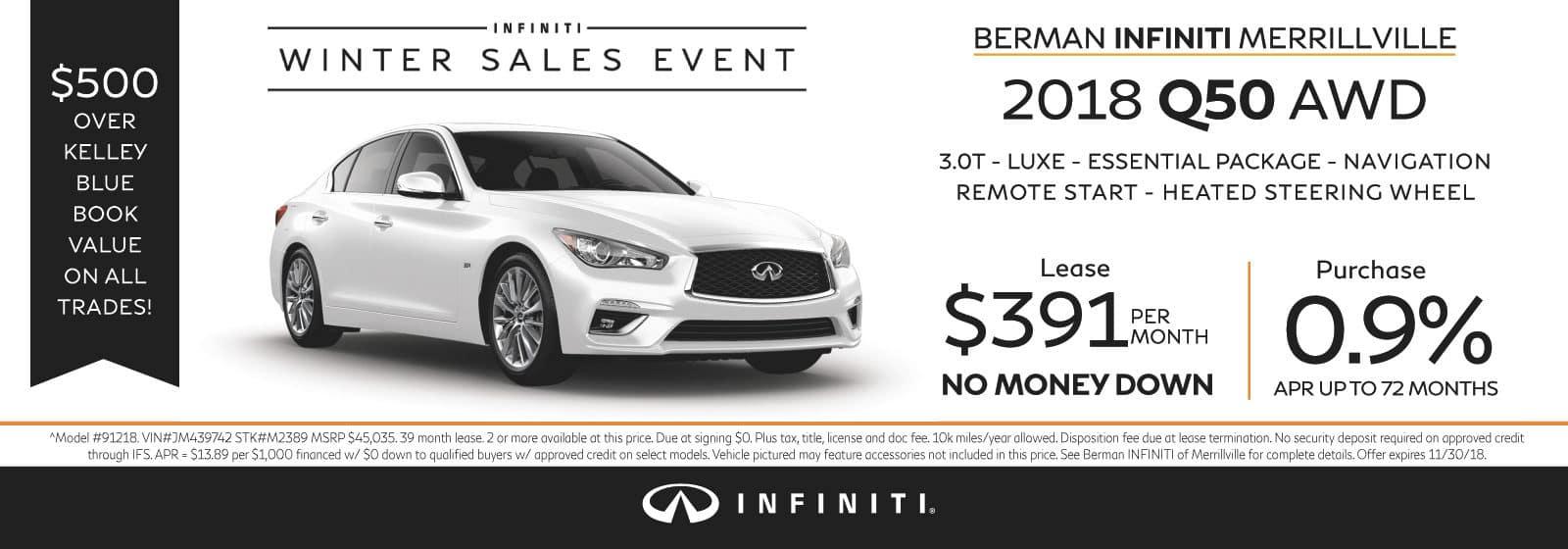 New 2018 INFINITI Q50 November Offer at Berman INFINITI of Merrillville!