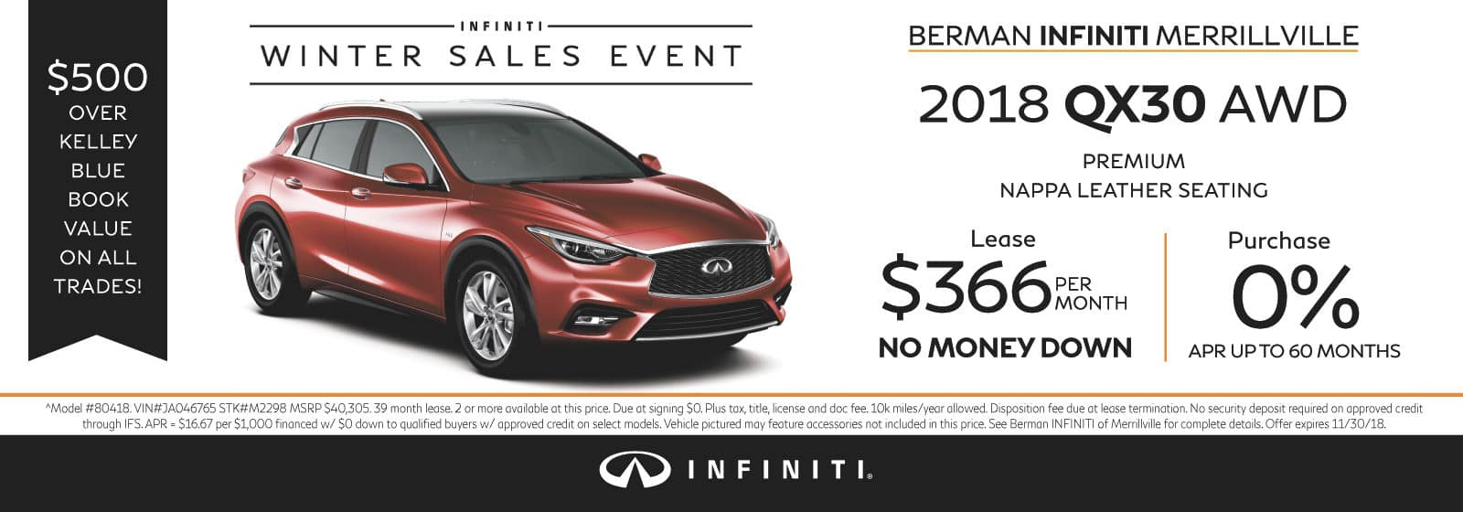 New 2018 INFINITI QX30 November Offer at Berman INFINITI of Merrillville!