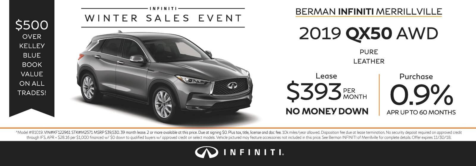 New 2019 INFINITI QX50 November Offer at Berman INFINITI of Merrillville!