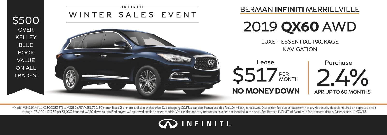 New 2019 INFINITI QX60 November Offer at Berman INFINITI of Merrillville!