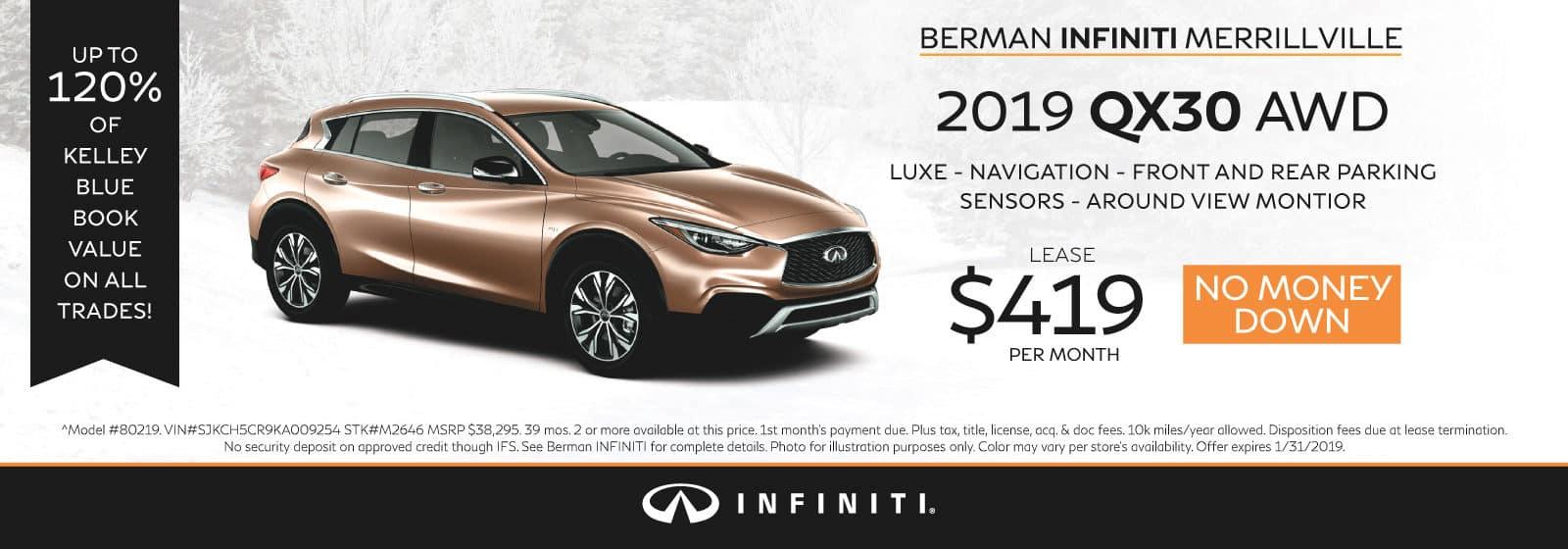 New 2019 INFINITI QX30 January Offer at Berman INFINITI of Merrillville!