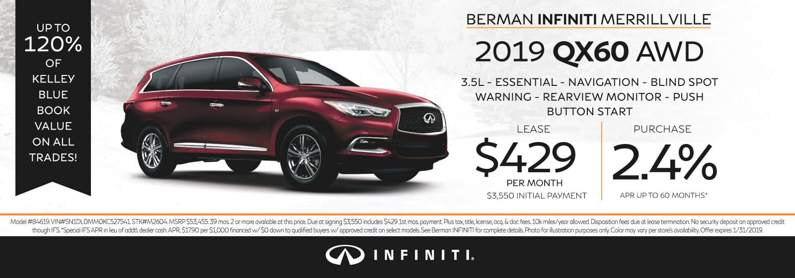 New 2019 INFINITI QX60 January Offer at Berman INFINITI of Merrillville!
