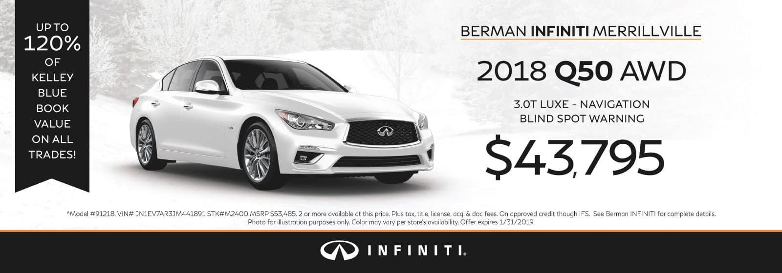 New 2018 INFINITI Q50 January Offer at Berman INFINITI of Merrillville!