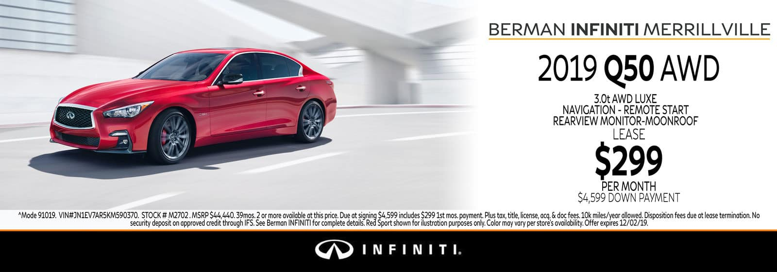 New 2019 INFINITI Q50 November Offer at Berman INFINITI of Merrillville!