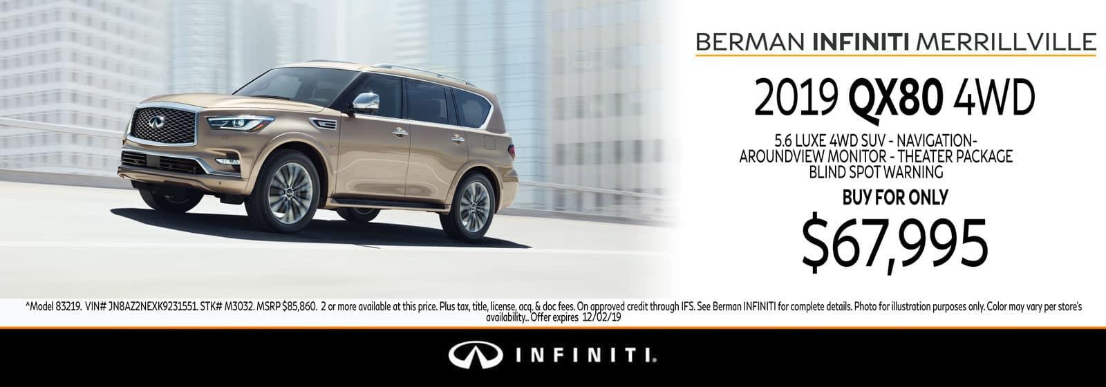 New 2019 INFINITI QX80 November Offer at Berman INFINITI of Merrillville!