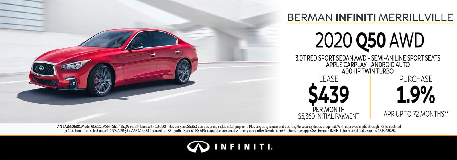 New 2020 INFINITI Q50 April Offer at Berman INFINITI of Merrillville!