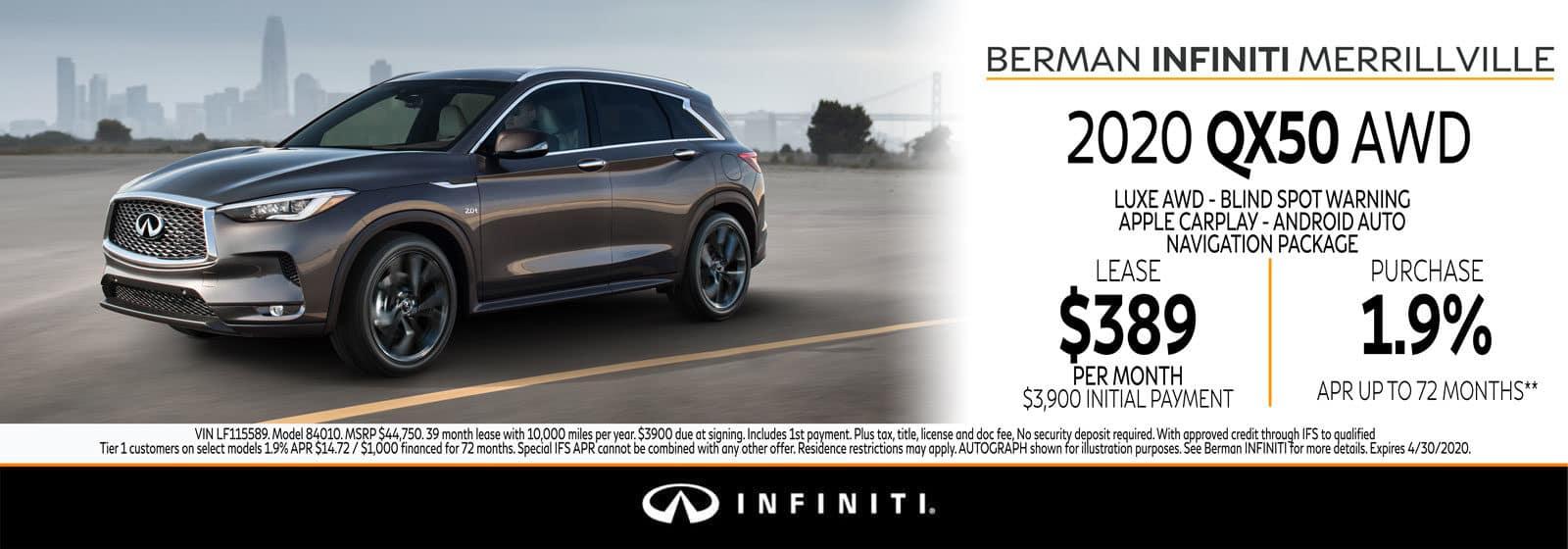 New 2020 INFINITI QX50 April Offer at Berman INFINITI of Merrillville!