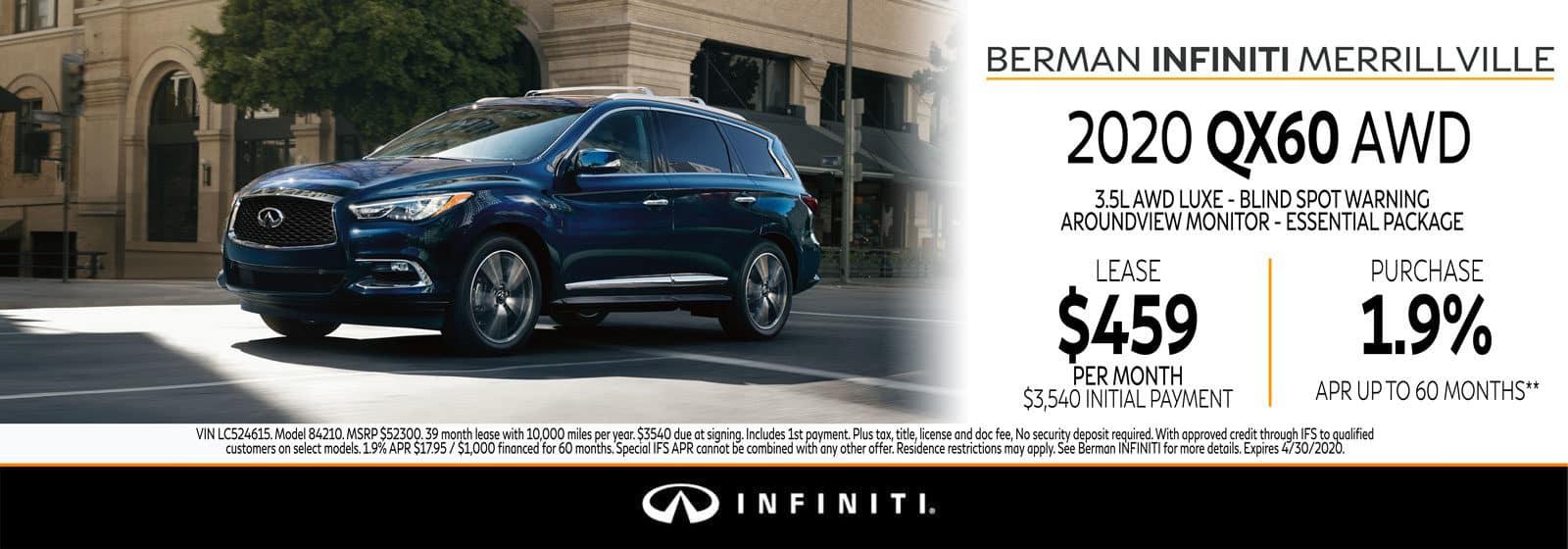 New 2020 INFINITI QX60 April Offer at Berman INFINITI of Merrillville!