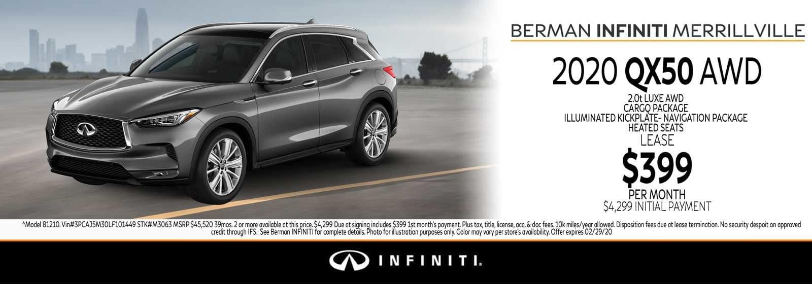 New 2020 INFINITI QX50 February Offer at Berman INFINITI of Merrillville!