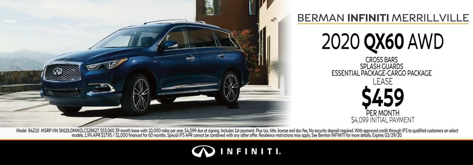 New 2020 INFINITI QX60 February Offer at Berman INFINITI of Merrillville!