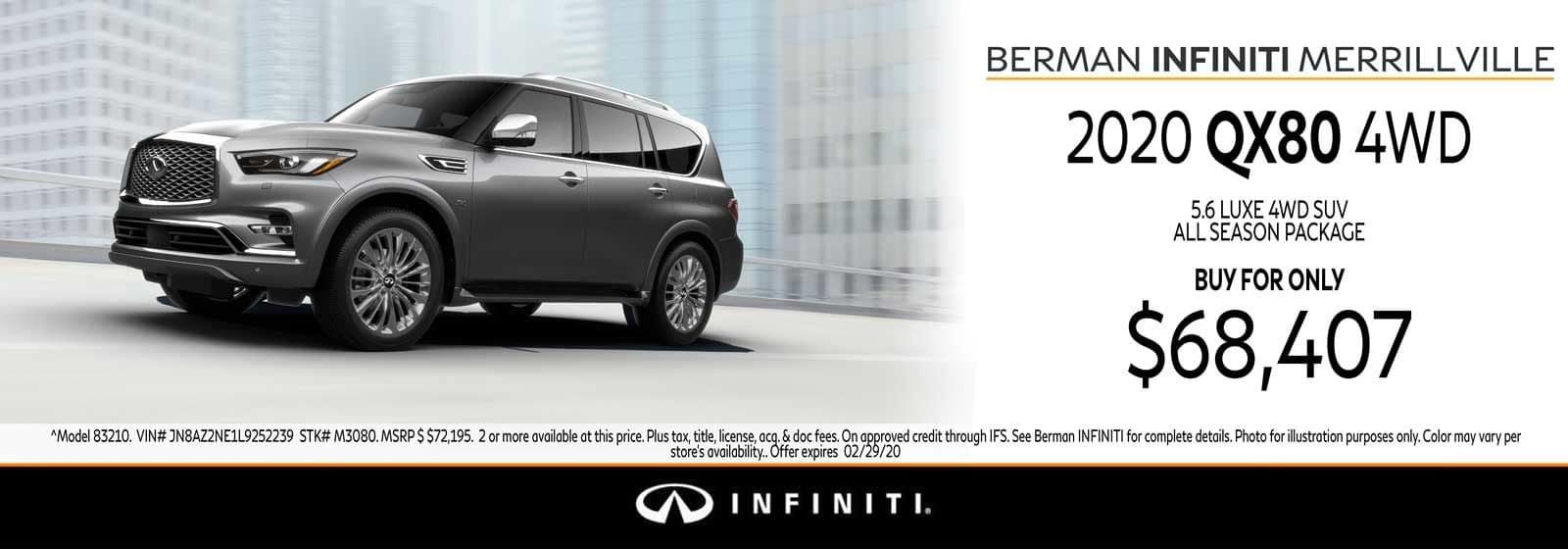 New 2020 INFINITI QX80 February Offer at Berman INFINITI of Merrillville!
