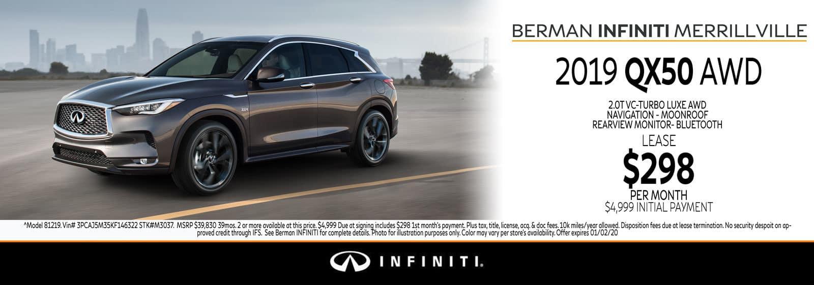 New 2019 INFINITI QX50 December Offer at Berman INFINITI of Merrillville!