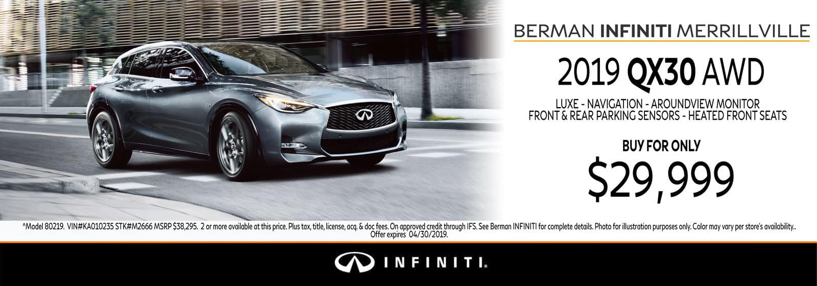 New 2019 INFINITI QX30 April Offer at Berman INFINITI of Merrillville!