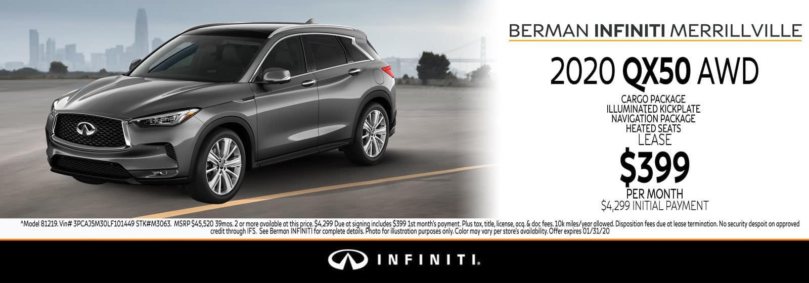 New 2020 INFINITI QX50 January Offer at Berman INFINITI of Merrillville!