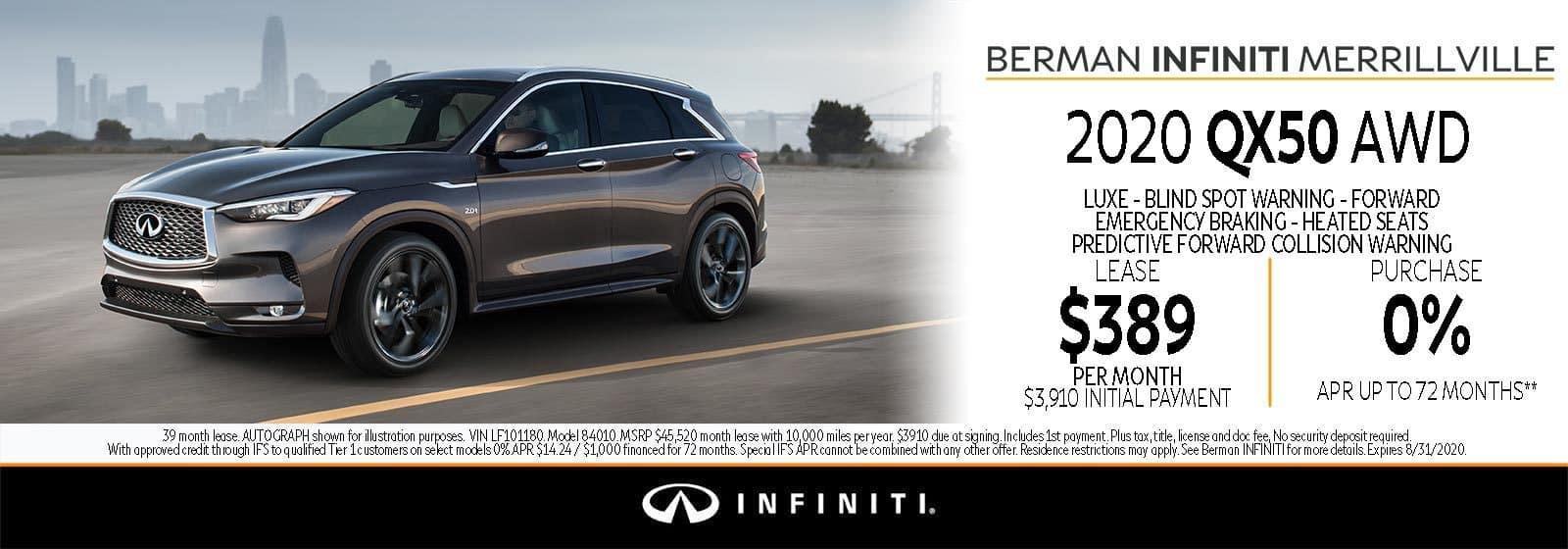 New 2020 INFINITI QX50 August Offer at Berman INFINITI of Merrillville!