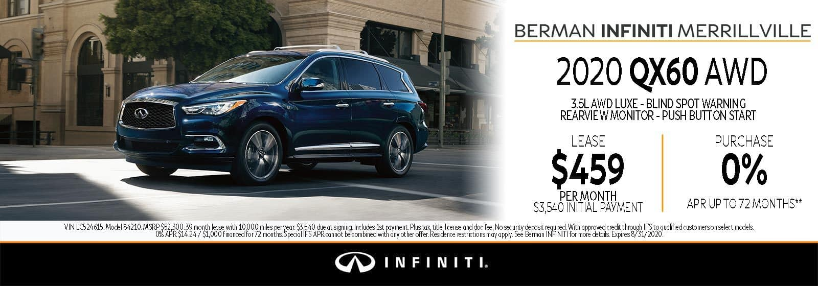 New 2020 INFINITI QX60 August Offer at Berman INFINITI of Merrillville!